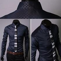 Camisa Social Botão Frontal Slimfit Camisa Argyle Darkstripe