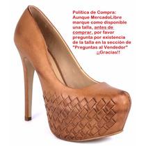 Zapatillas Pump Tejidas Miel 14cms Piel Marca Andrea 1127