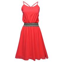 Vestido Con Tirantes Bordado Dama Mujer Coral 9647 Zoara