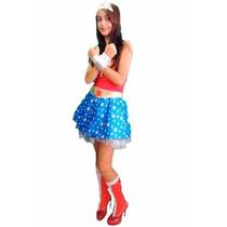 Fantasia Mulher Maravilha Adulto C/ Braceletes