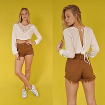 Short Jeans Feminino Hot Pants Cintura Alta