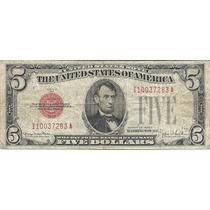 Billete Antiguo 5 Dolares 1928 Sello Rojo Estados Unidos
