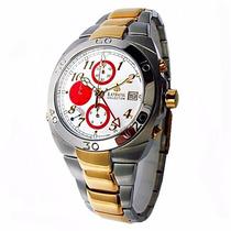 Relógio Masculino Cronógrafo Lobor Inox Folheado Ouro 23k