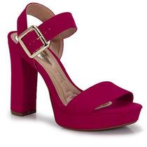 Sandália Salto Conforto Feminina Beira Rio - Pink