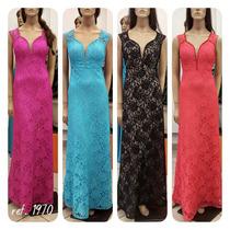 Vestido De Festa Longo Renda Preto Azul Fucsia Coral 1970