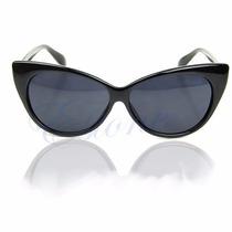 Óculos Escuro Sol Moda Vintage Estilo Cateye Gatinha Preto
