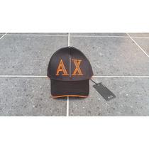 // Gorra Ax Armani Exchange Original Negra Y Naranja De Tela