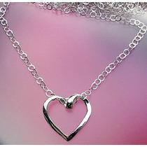 Cadena De 60cm Con Dije De Corazón Torcido Plata Ley Solida