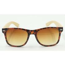 Óculos De Sol Bamboo Leopardo Madeira Uv400 Unisex