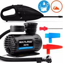 Aspirador Po Veicular + Mini Compressor Multilaser Kit Car