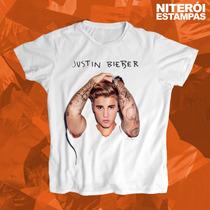 Camisa Baby Look Justin Bieber (poliéster)