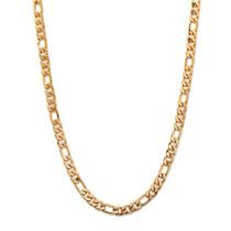 Collar Cadena Fígaro 6.5 Mm Ionizado De Oro Hombre 22 In