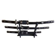 Conjunto 3 Espada Samurai Katana Ninja Decorativa C/ Suporte