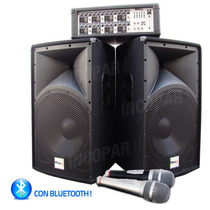 Combo Reck Consola 8 Canales Bluetooth + 2 Bafles 15´´+2 Mic