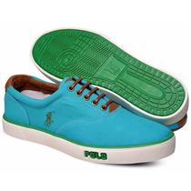 Tênis Polo Sneaker Masculino Azul Claro E Verde