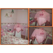 Poncho Tejido A Crochet Niña Chenille Color Rosa