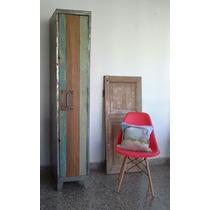 Locker Metalico Armario Puerta Madera Lucerito Vintage