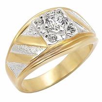 Anel Masculino Zirconia Folheado A Ouro 18k Luxo