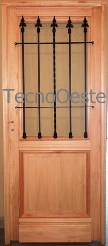 Puerta madera exterior 1 2 reja maciza colonial antigua for Puertas interiores antiguas madera