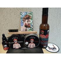 Kit Shampoo + Oleo + Pomada + Escova De Madeira Para Barba