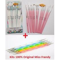 Kit 15 Pinceis + 5 Boleadores Miss Frandy Profissional