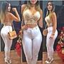 Calça Jeans Cintura Alta Hot Pants Anitta Juju Branca Moda