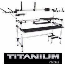 Rack Studio 345 Titanium P/ Teclado Controlador, Pc, Monitor