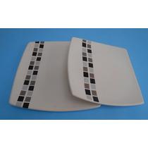 Platos Cuadrados De Cerámica - Vajilla Con Diseño -