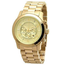 Relógio Michael Kors Mk8077 Dourado Gold Oversize P1