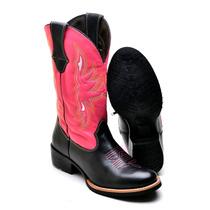Bota Feminina Texana Country Couro Bovino 8095r Preto-rosa