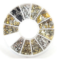 Estojo 3d Tacha Metálica Ouro Prata Nail Art Decora Unhas