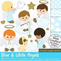 Kit Imprimible Angelitos Bautismo Nene 2 Imagenes Clipart
