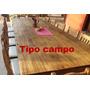 Mesa De Quincho 3,00 X 1,27 M + 14 Sillas Pino Estilo Campo