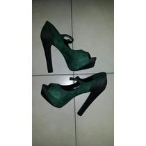 Remate. Zapatos De Tacón Alto. Gamusa. Talla 39