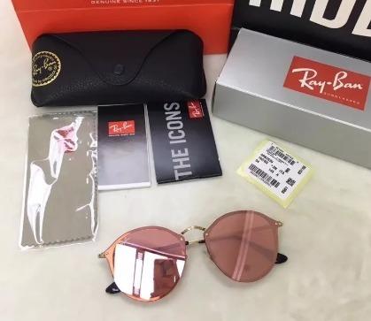 90071a2379132 Oculos De Sol Feminino Ray Ban Round Blaze Rb3574 Rosa - R  300