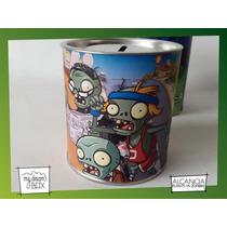 Souvenir Personaliza Alcancía Lata Evento Plantas Vs Zombies