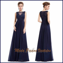Sexy Majestuoso Vestido Azul Noche Talles Grande Moda Pasión