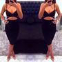 Vestido Negro Escotado Sexy Summer Bandage Slim Bodycon Even