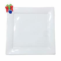 6 Platos Playos Cuadrados De Porcelana Blanca 25x25cm