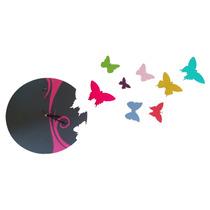 Reloj De Pared Mariposas - Corte Láser Pintado A Mano