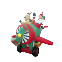 Inflable Santa Claus Renos Helicóptero 6pies Adorno Navideño