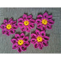 Kit Com 5 Flores De Crochê Tapetes Cozinha Sala Banheiro