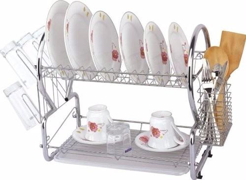 Escurridor de 2 niveles con charola rack para trastes for Trastes de cocina