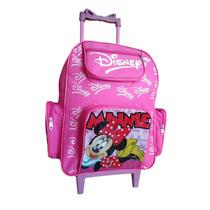 Mochila Escola Infantil C Rodinhas Personagem Minnie Disney