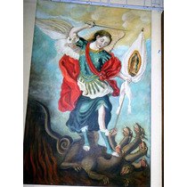 Pintura Al Oleo De San Miguel Arcangel 90 X 60 Cms