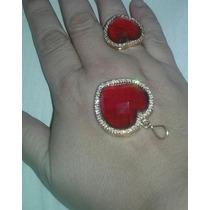 Conjunto Rommanel Anel+pingente Coração Cristal Vermelho
