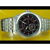 Relógio Bulova 96a101 Automatico Esqueteto Dial Marrom