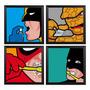 Kit 4 Quadros Herois Decoração Quarto Criança + Super Brinde