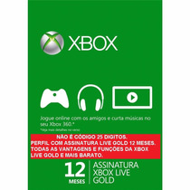 Assinatura Xbox Live Gold Brasil 12 Meses Br 1 Ano Live Gold