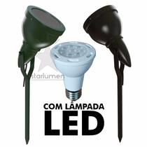 Espeto Jardim Led Alumínio Preto C/ Lâmpada Luminária Par 20